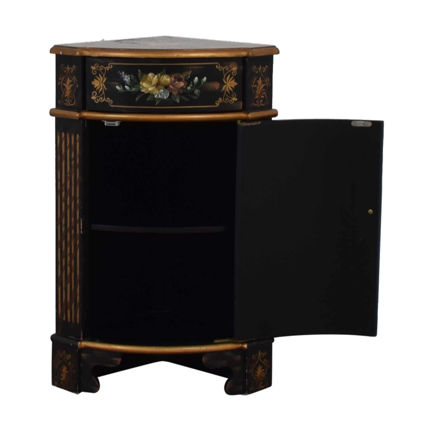 Antique Black Hand-Painted Single Drawer Corner Cabinet black