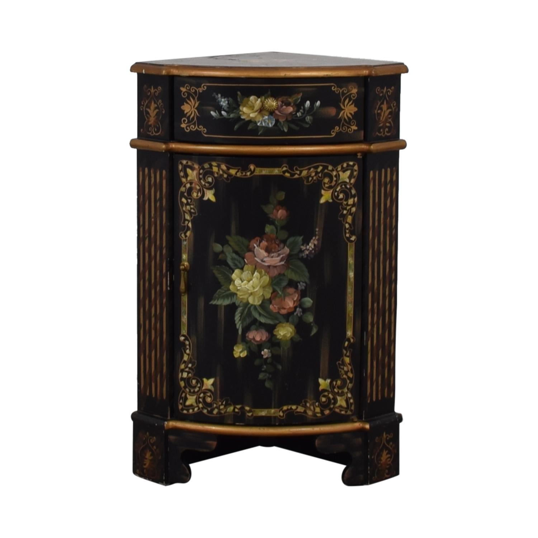 Antique Black Hand Painted Single Drawer Corner Cabinet Tables