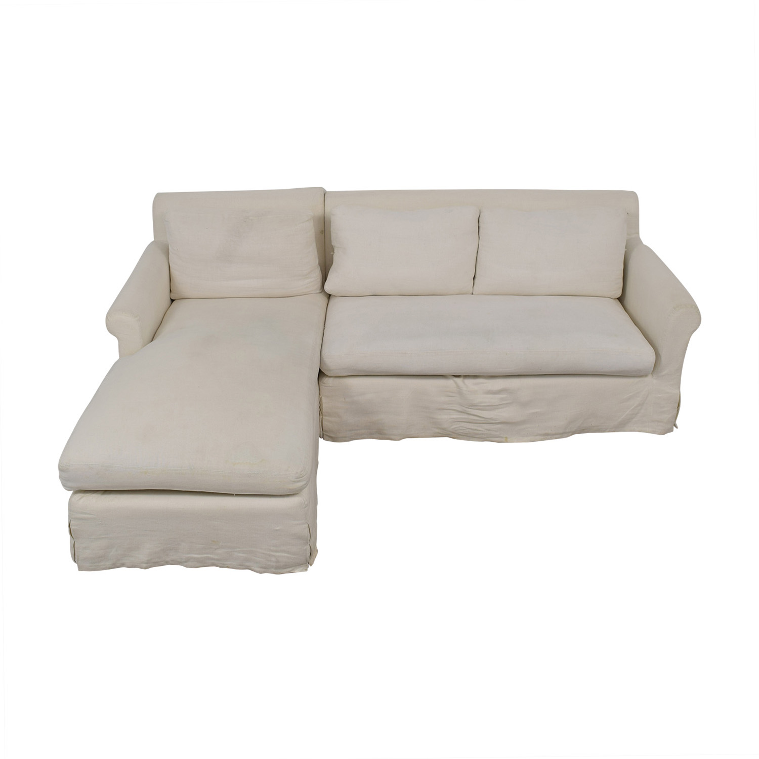 Restoration Hardware Restoration Hardware Petite Roll White Left Chaise Sectional dimensions