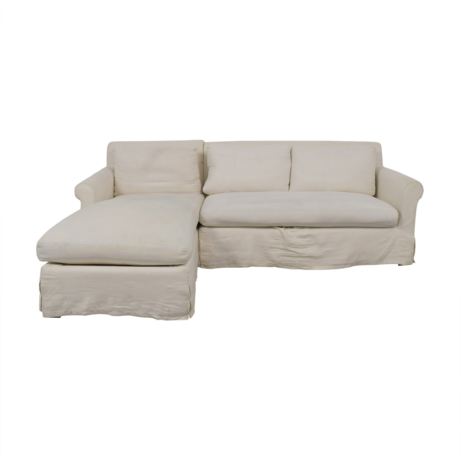 shop Restoration Hardware Petite Roll White Left Chaise Sectional Restoration Hardware