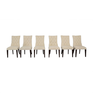 Kaiyo Quality Used Furniture Restoration Hardware Martine Tufted Beige Dining Chairs