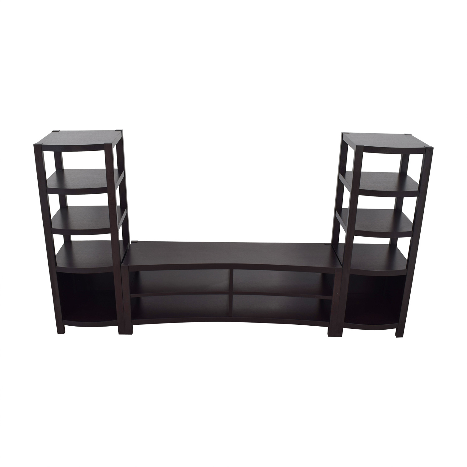 Black Curved Media Console with Towers sale