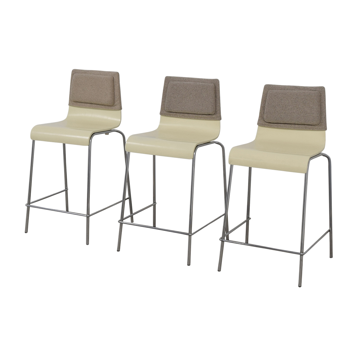 shop White and Grey Stools with Back Felt Pads