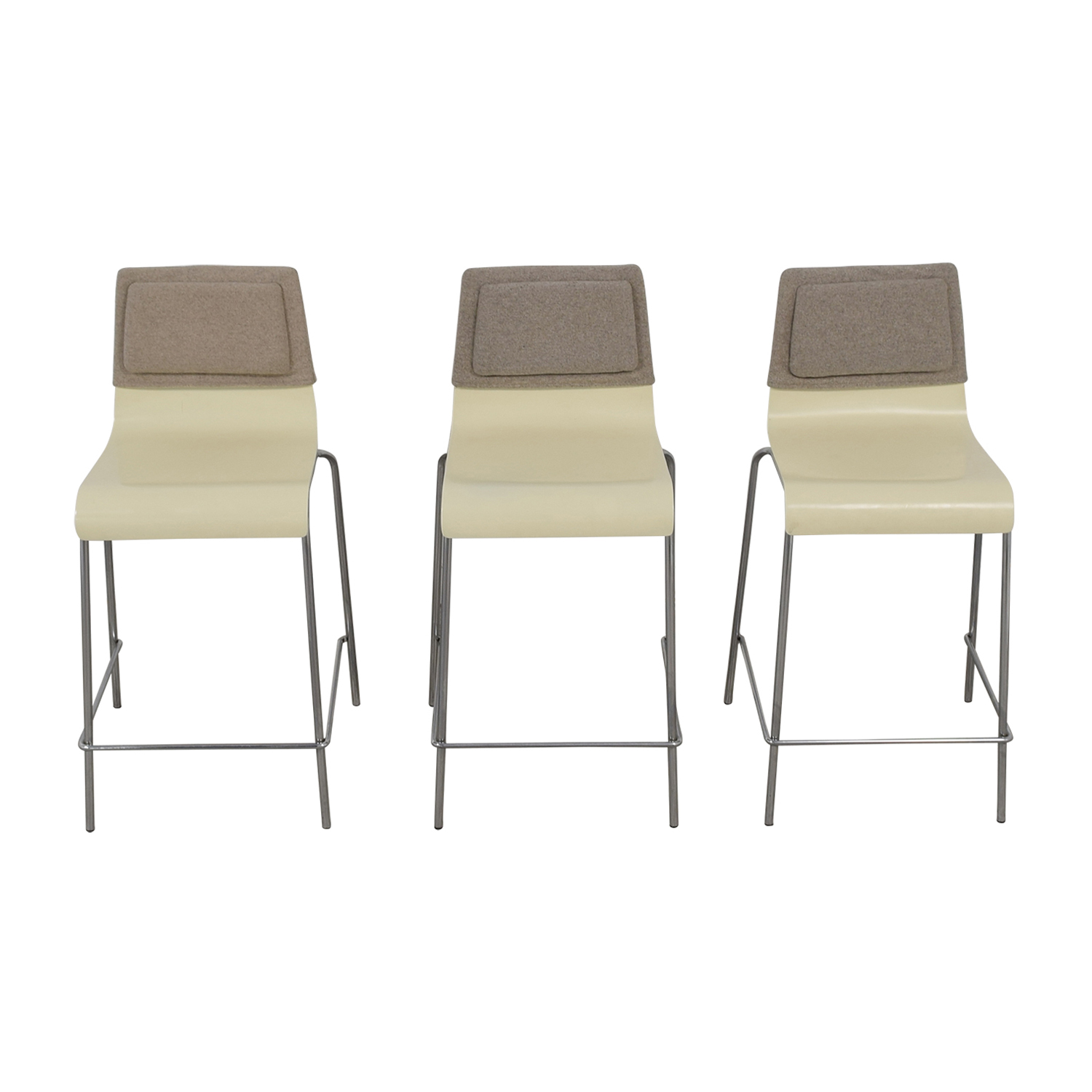 White and Grey Stools with Back Felt Pads for sale