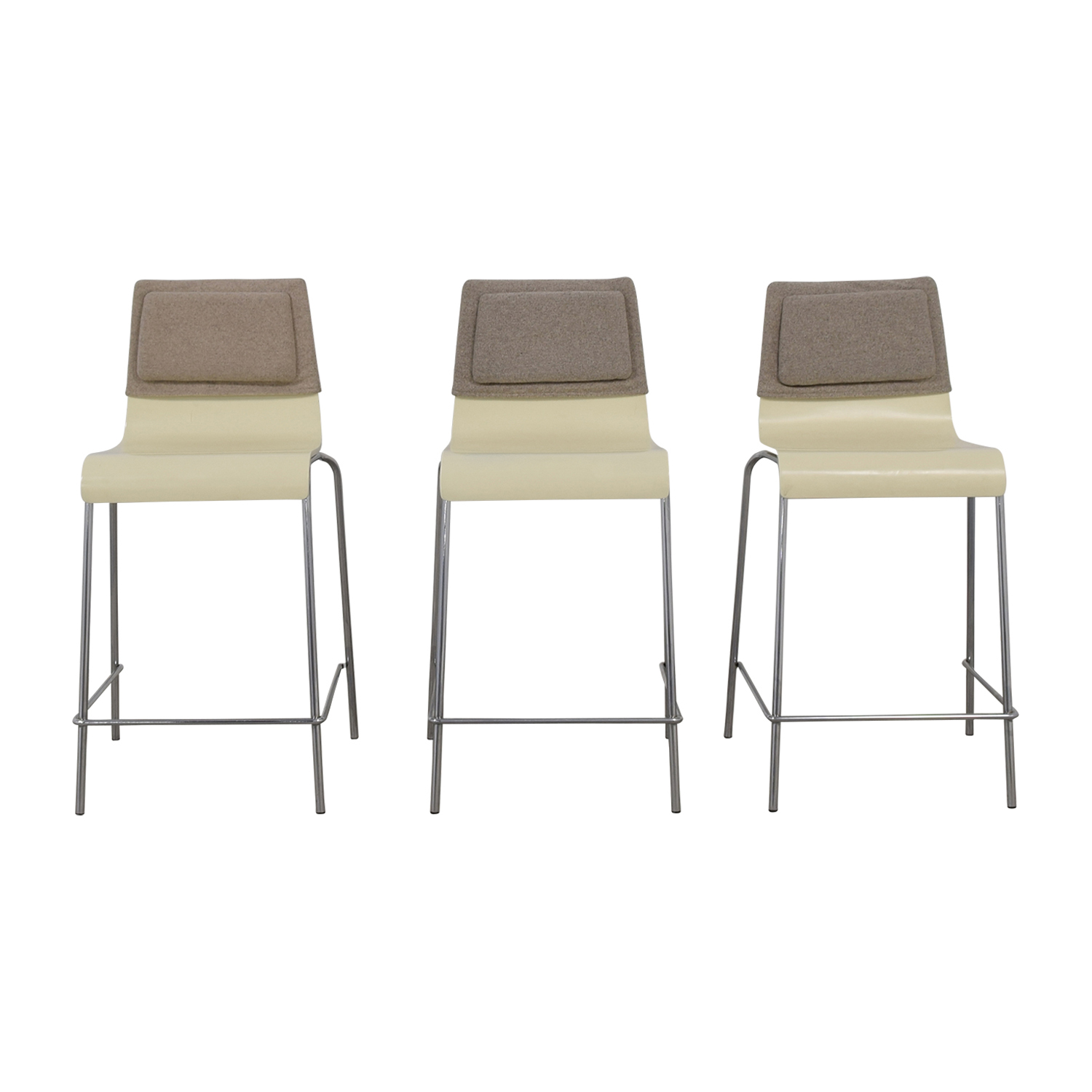 buy White and Grey Stools with Back Felt Pads  Stools