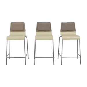 shop White and Grey Stools with Back Felt Pads  Chairs