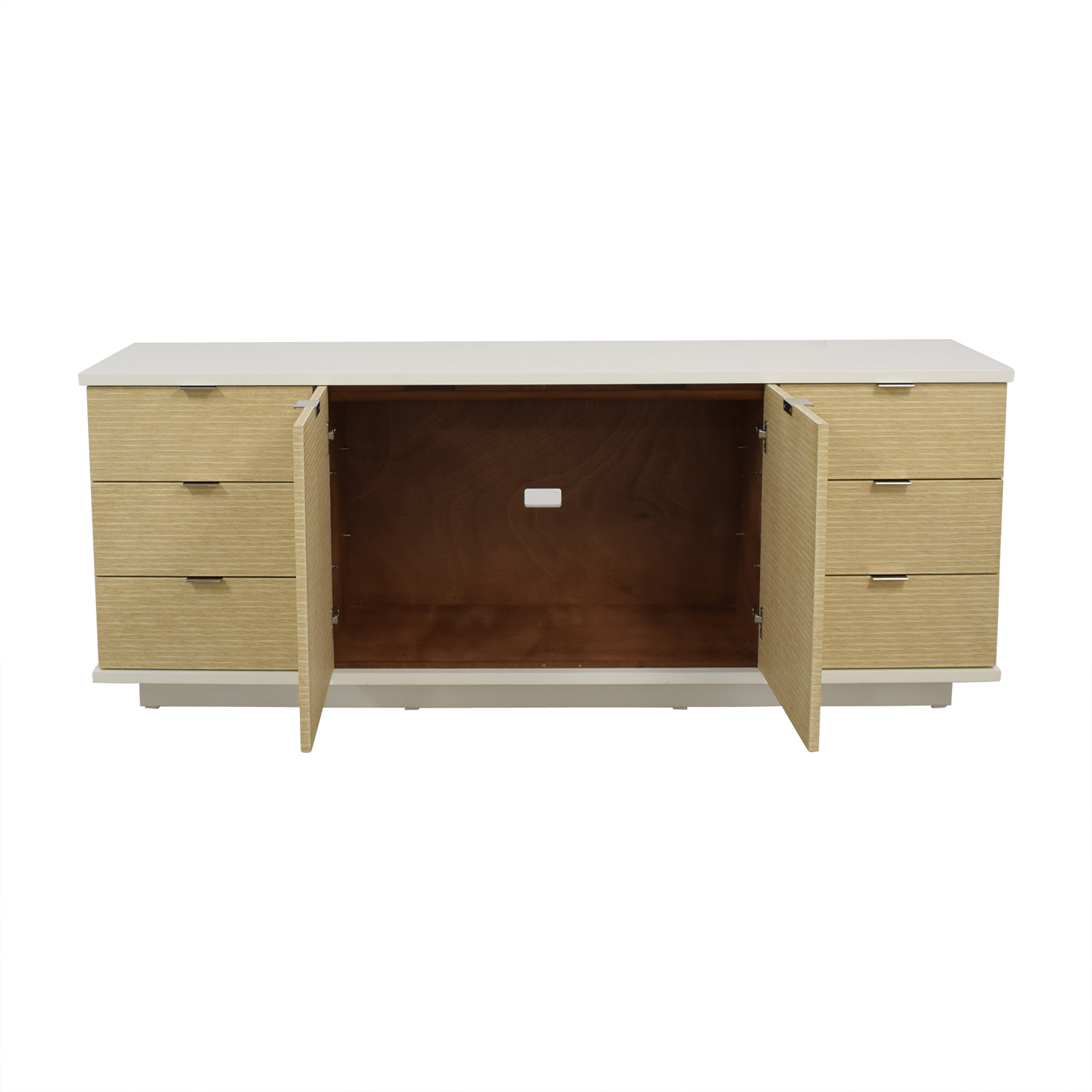 White and Beige Six-Drawer Media Cabinet discount