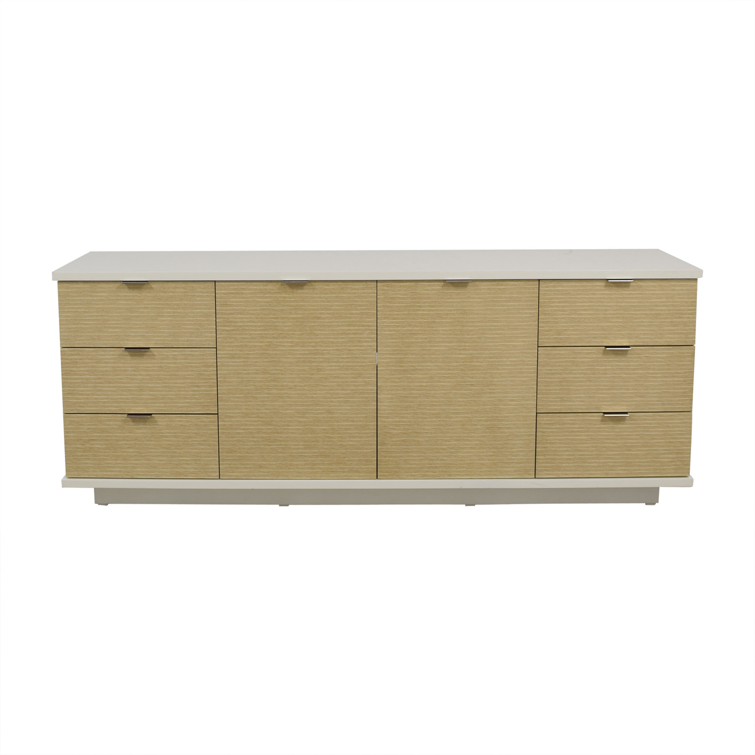 White And Beige Six Drawer Media Cabinet Storage