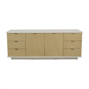 White and Beige Six-Drawer Media Cabinet second hand