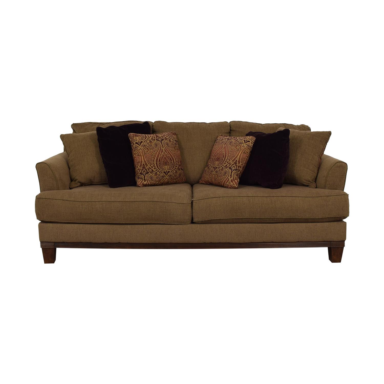 shop Ashley Furniture Brown Two-Cushion Sofa Ashley Furniture Sofas