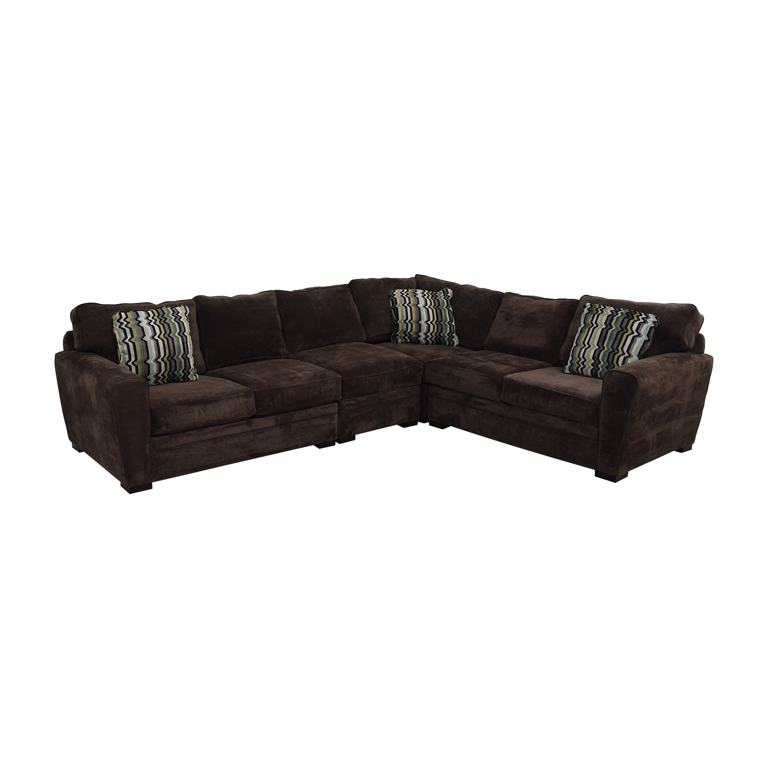 buy Raymour & Flanigan Brown Velvet L-Shaped Sectional Raymour & Flanigan