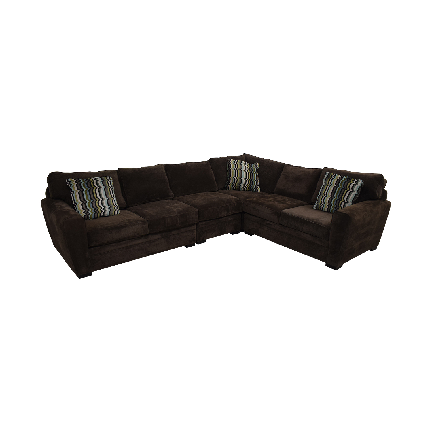 Raymour & Flanigan Brown Velvet L-Shaped Sectional / Sofas