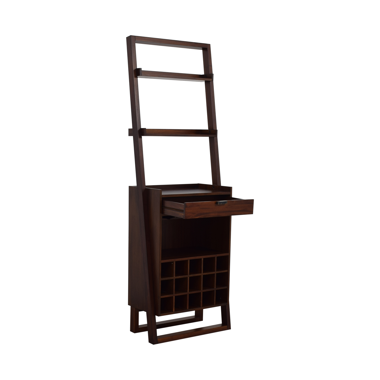 shop Crate & Barrel Brown Leaning Wine Bar Crate & Barrel Bookcases & Shelving