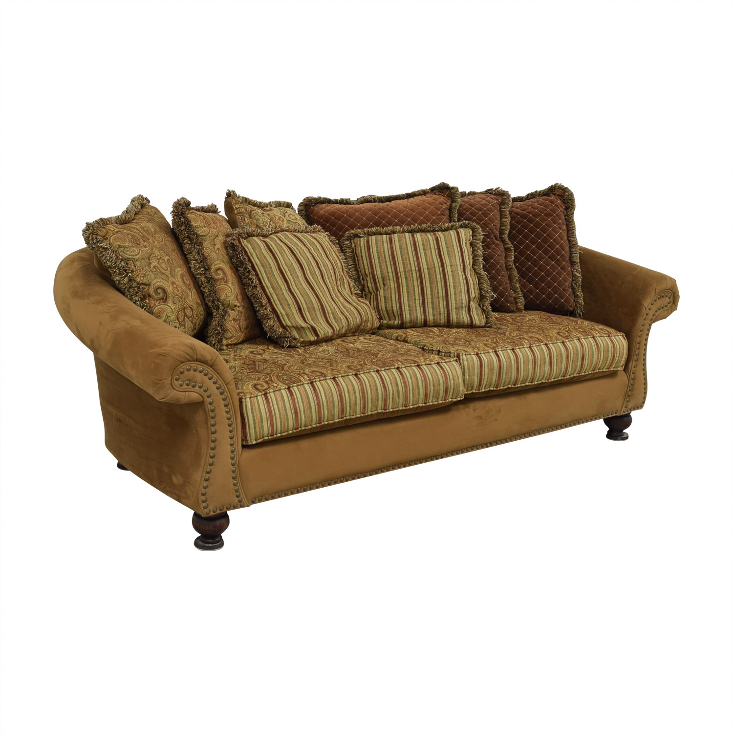 ... Buy Cindy Crawford Home Microfiber Faux Suede Nailhead Two Cushion Couch  Cindy Crawford Home Sofas ...