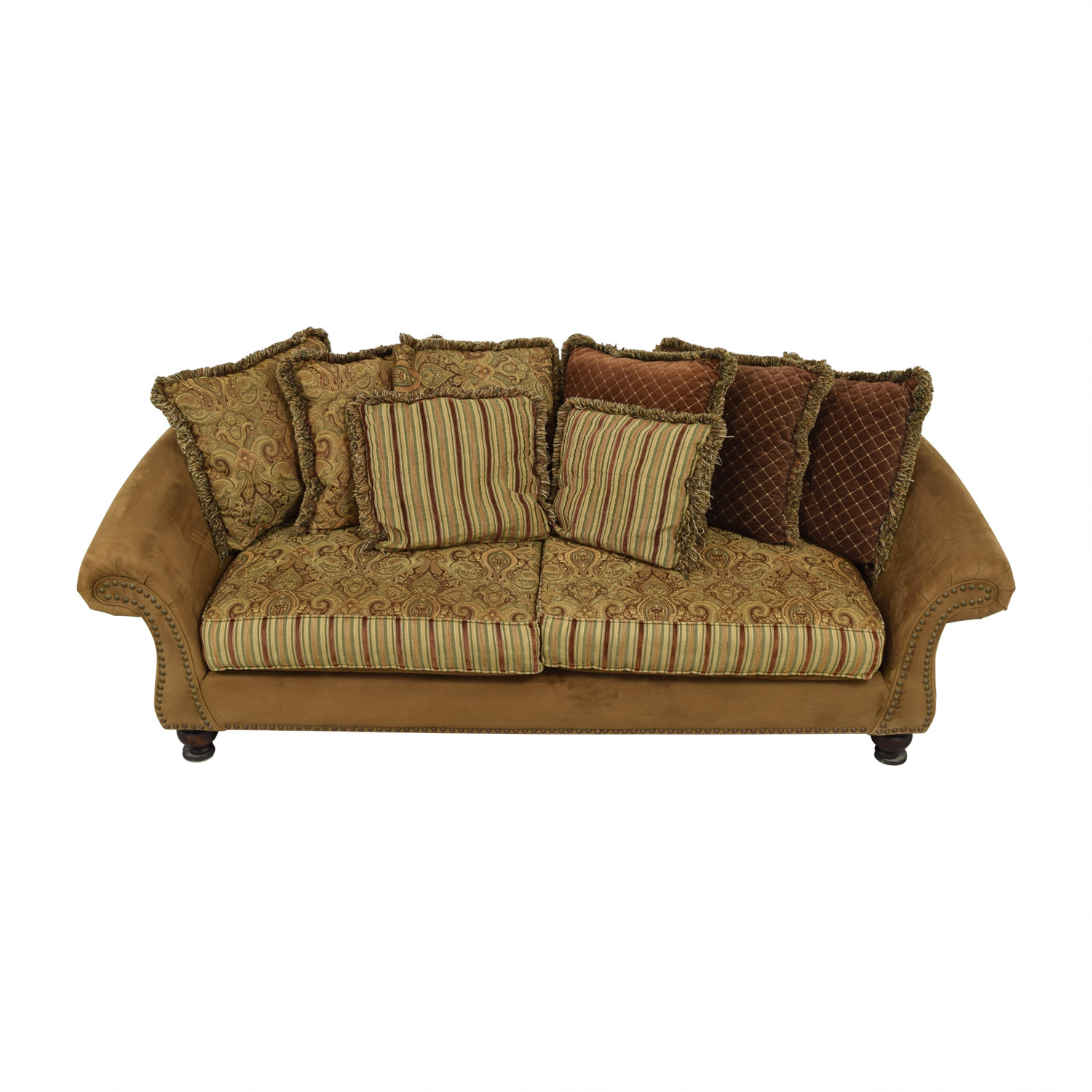 Cindy Crawford Home Cindy Crawford Home Microfiber Faux Suede Nailhead Two-Cushion Couch nyc