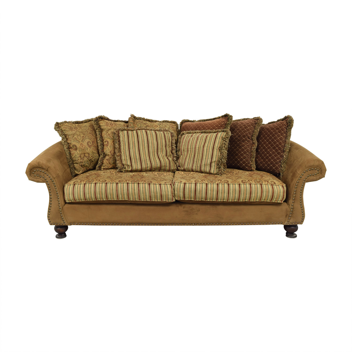 Cindy Crawford Home Cindy Crawford Home Microfiber Faux Suede Nailhead Two-Cushion Couch dimensions