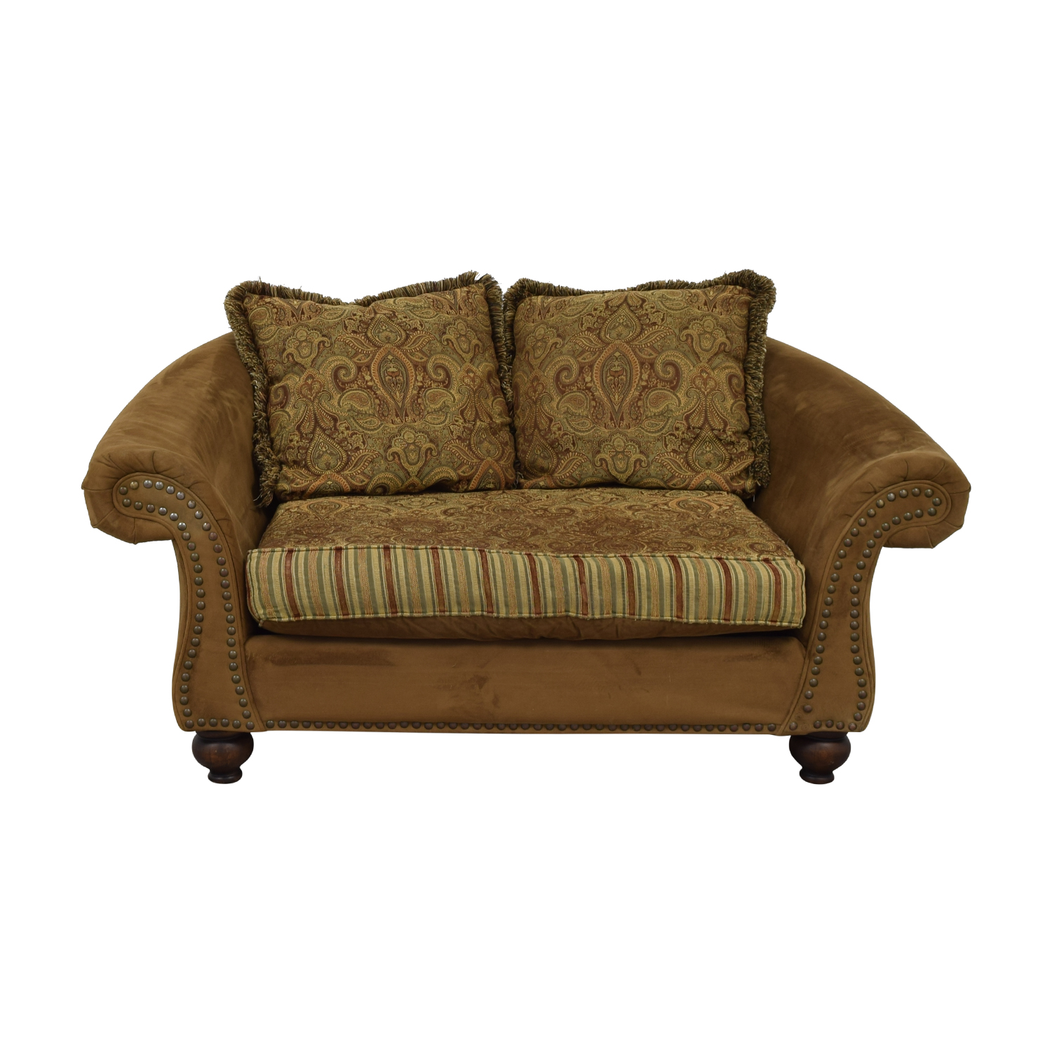 Superbe 89% OFF   Cindy Crawford Home Cindy Crawford Home Microfiber Faux Suede  Brown Nailhead Loveseat / Sofas
