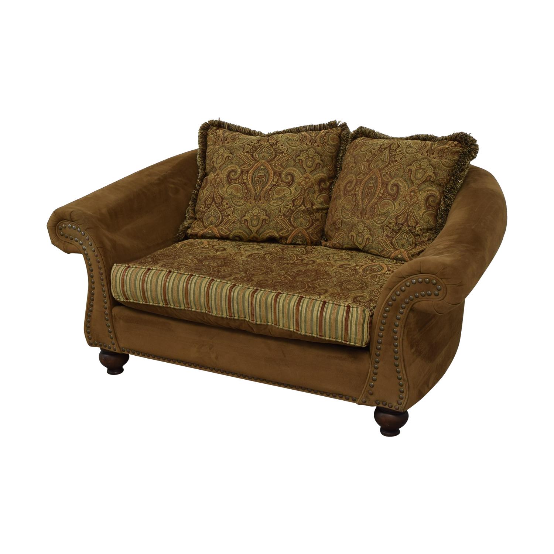 buy Cindy Crawford Home Microfiber Faux Suede Brown Nailhead Loveseat Cindy Crawford Home Loveseats
