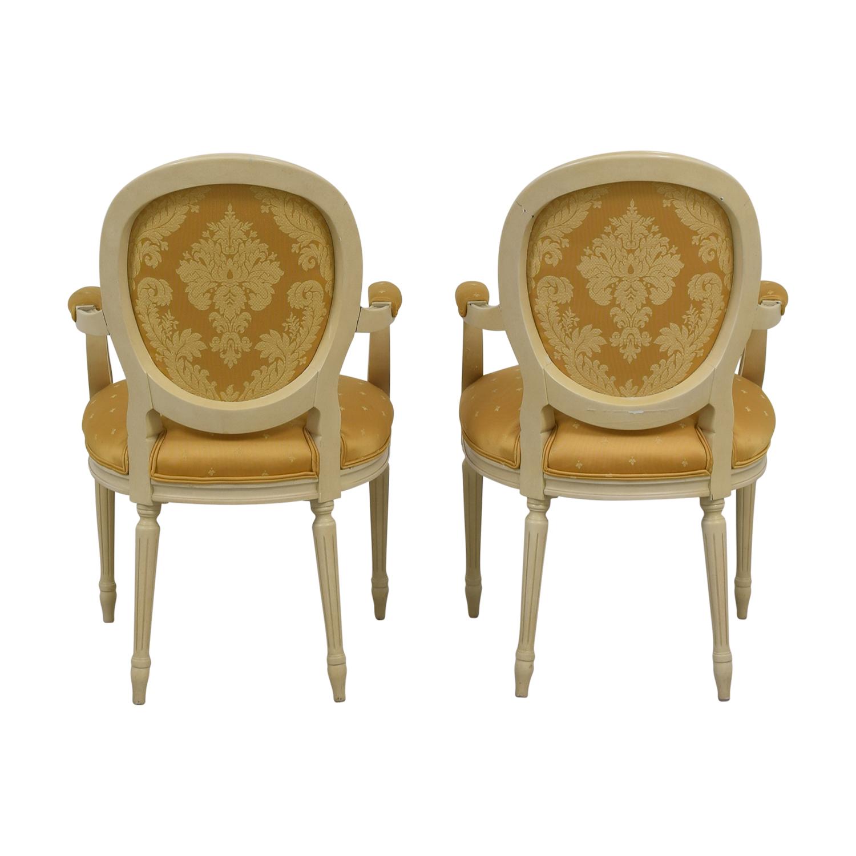 Gold Fleur De Lis Arm Dining Chairs for sale