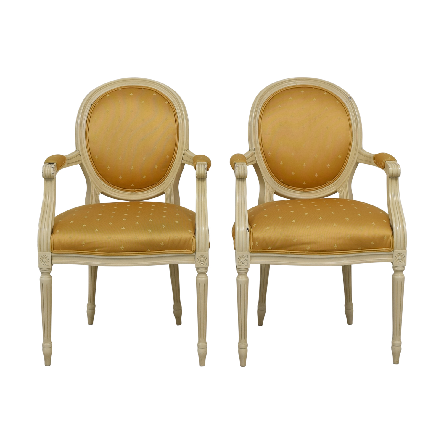 Gold Fleur De Lis Arm Dining Chairs used