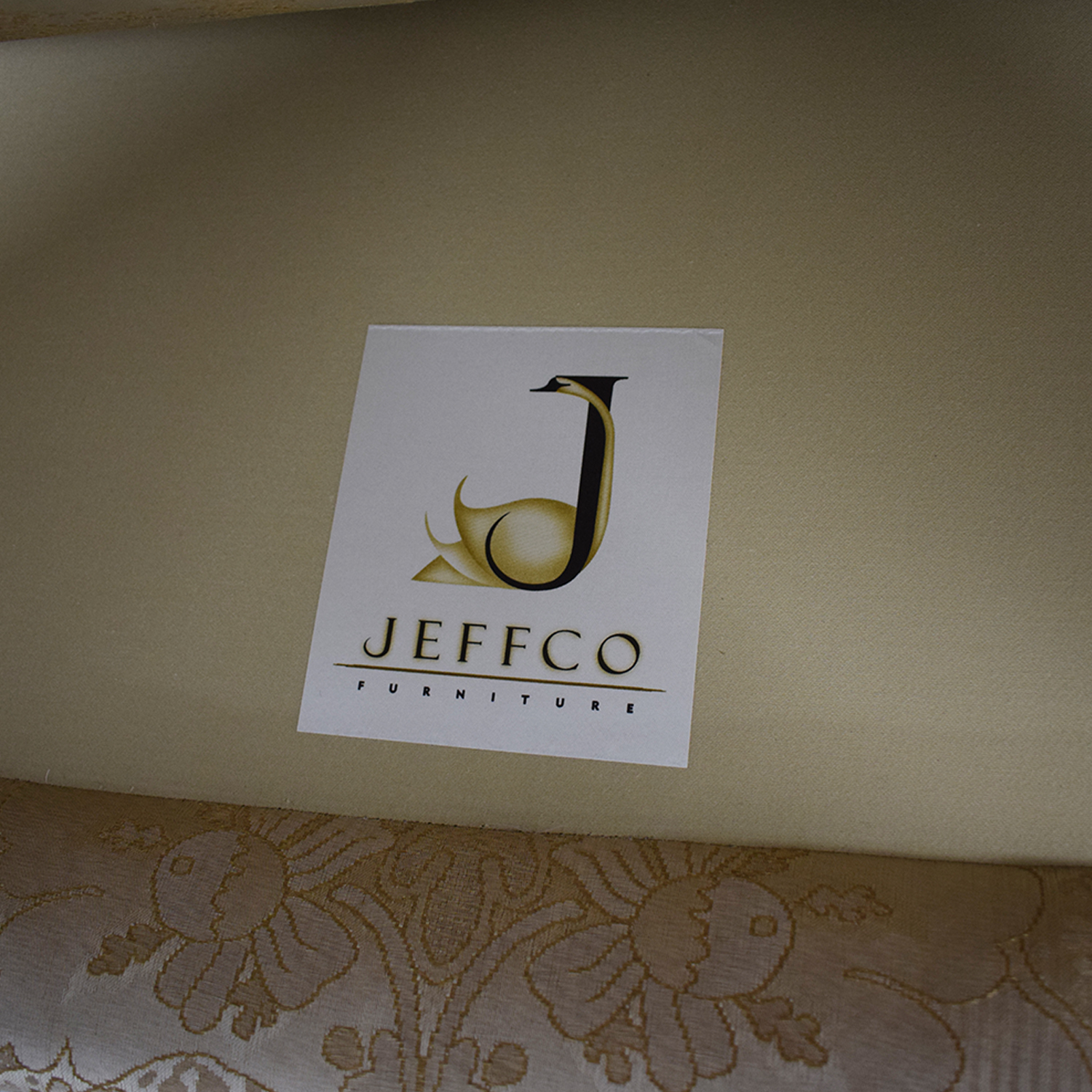 Jeffco Furniture Beige Jacquard and Wood Love Seat sale