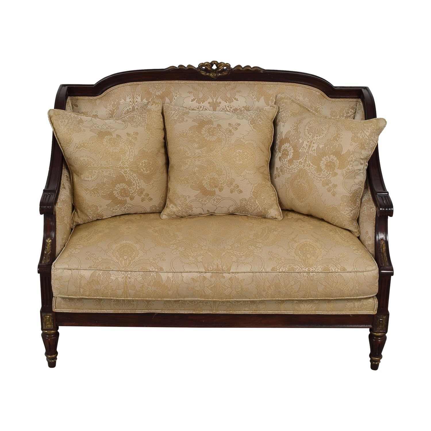 Jeffco Furniture Jeffco Furniture Beige Jacquard and Wood Love Seat coupon