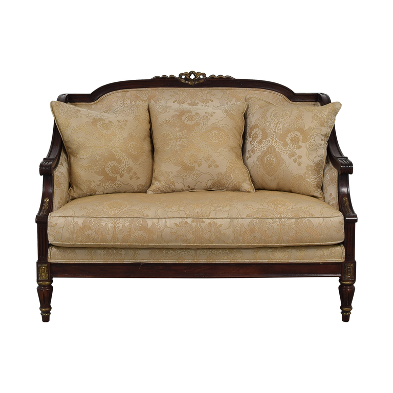 Jeffco Furniture Jeffco Furniture Beige Jacquard and Wood Loveseat discount