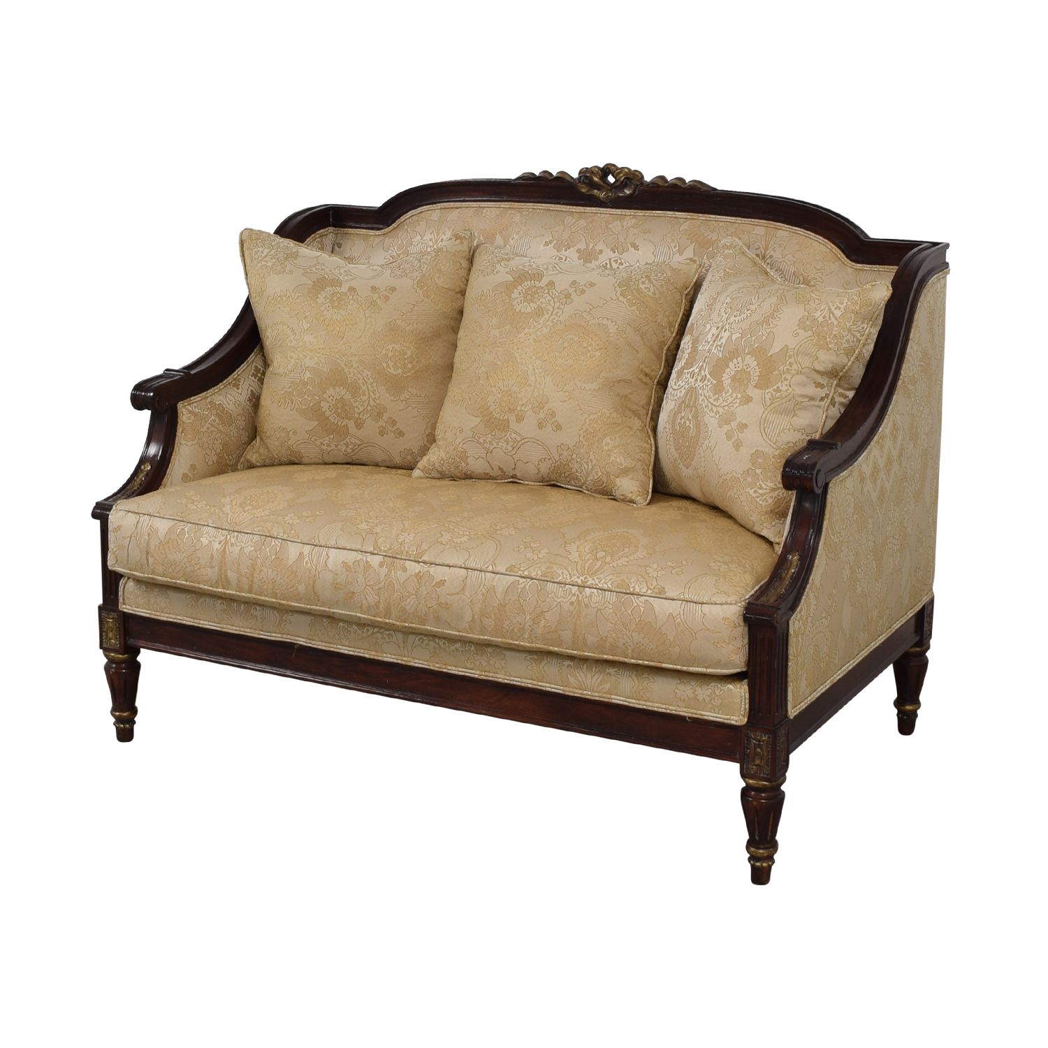 buy Jeffco Furniture Jeffco Furniture Beige Jacquard and Wood Love Seat online