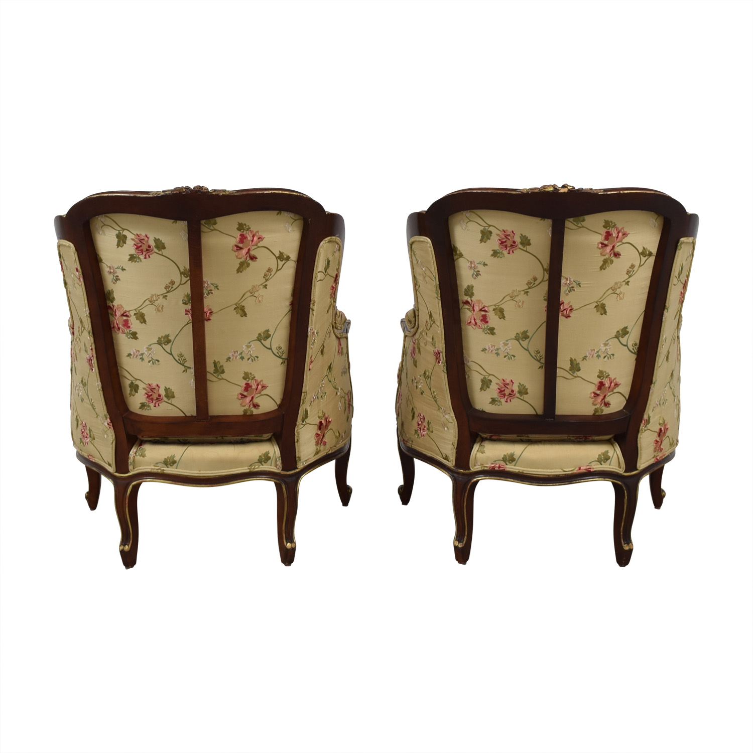 Century Furniture Louis Beige Floral Wing Accent Chairs Century Furniture