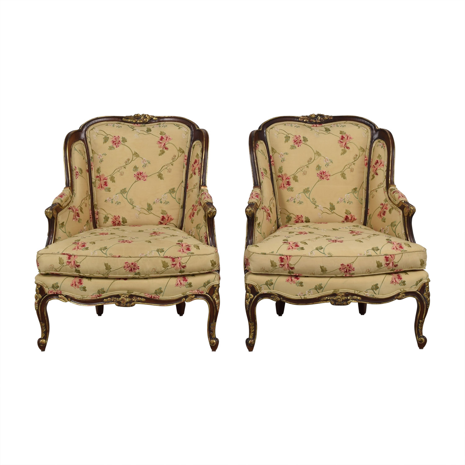 Century Furniture Louis Beige Floral Wing Accent Chairs sale