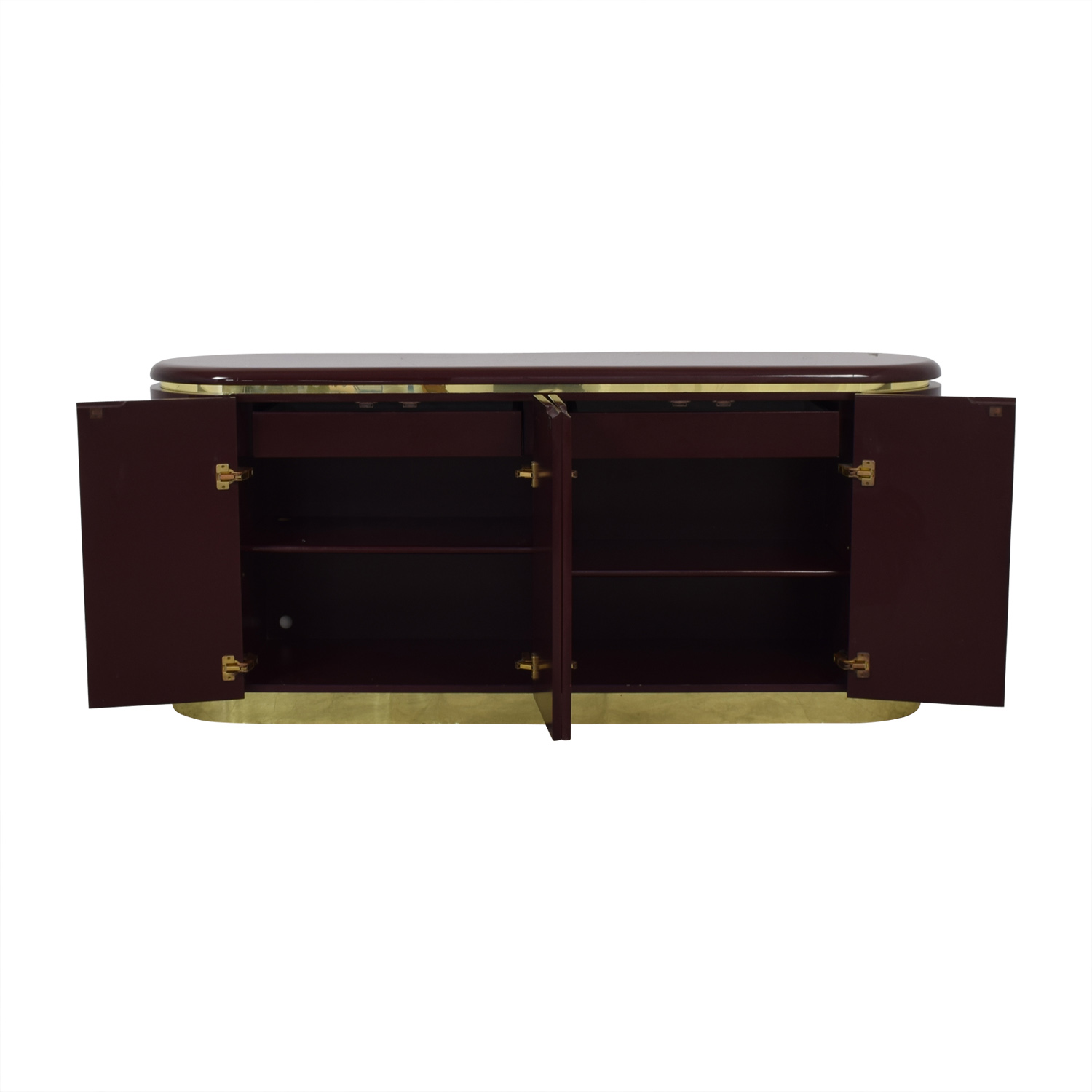 shop Philip Daniel Mahogany Lacquered Console with Brass Trim Philip Daniel Cabinets & Sideboards