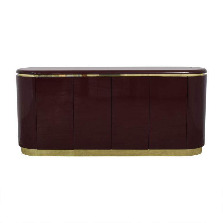 Philip Daniel Philip Daniel Mahogany Lacquered Console with Brass Trim Storage