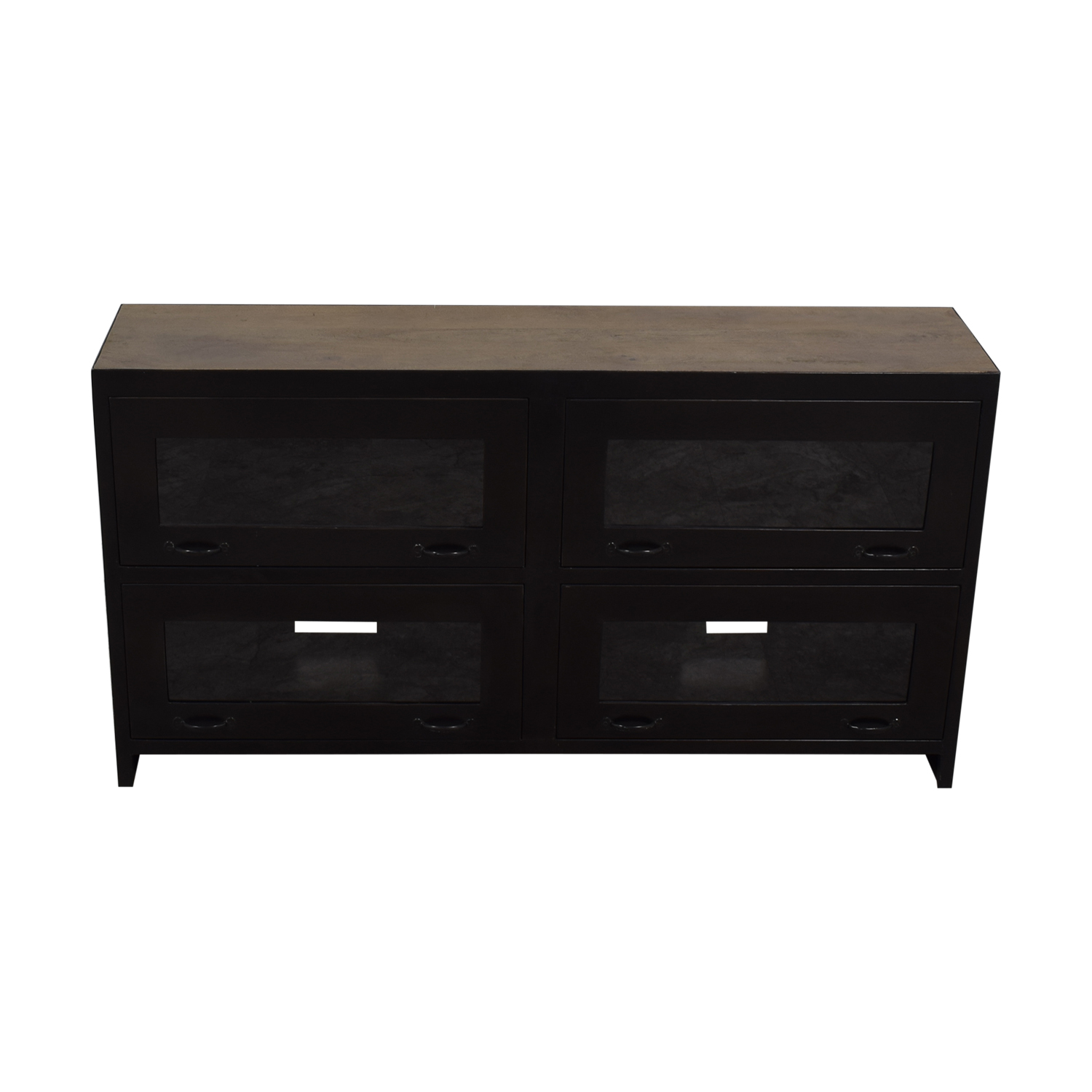 ABC Carpet & Home ABC Carpet & Home Black Walnut and Metal Glass Console nyc
