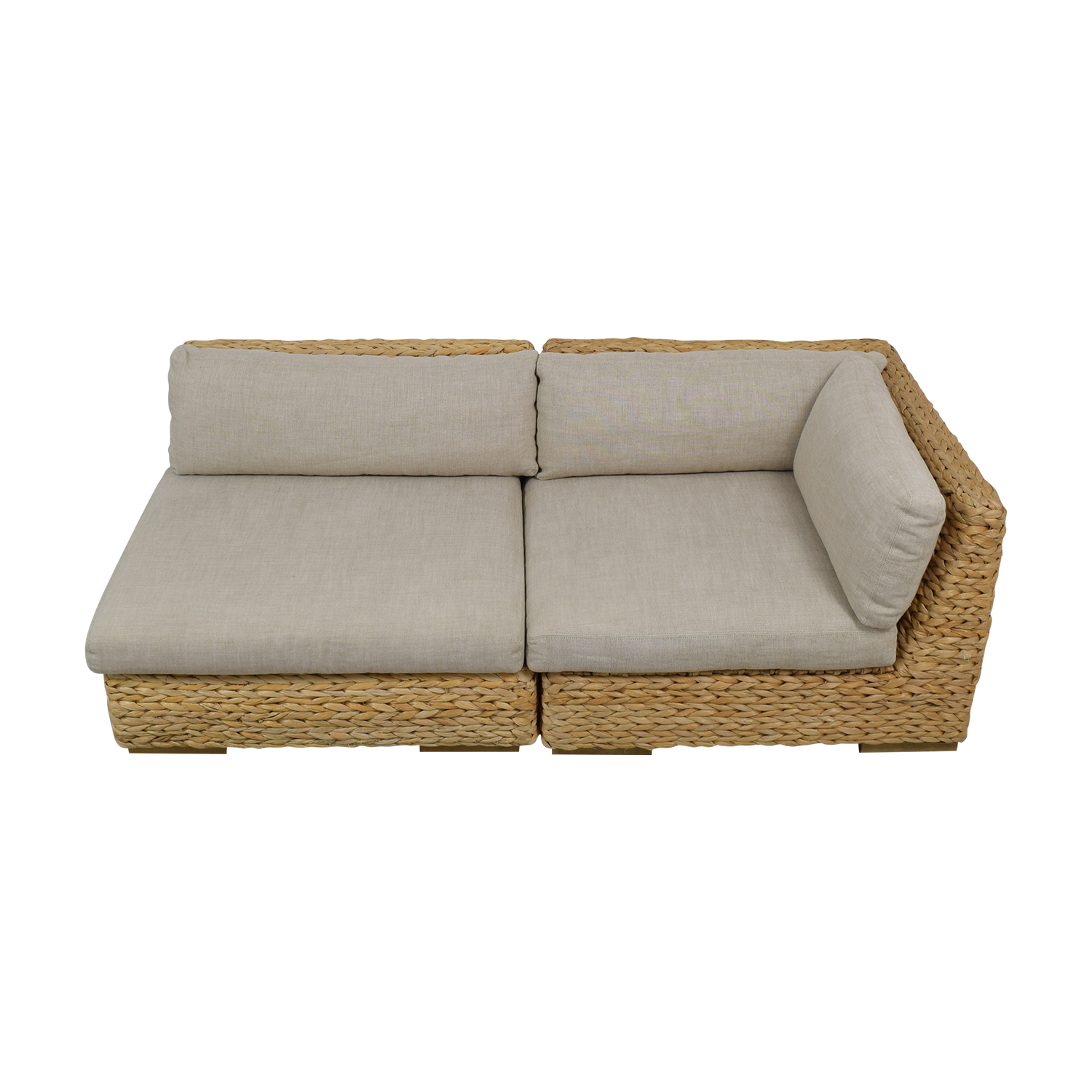 Restoration Hardware Restoration Hardware Beige and Grey Wicker Two-Piece Sectional nyc
