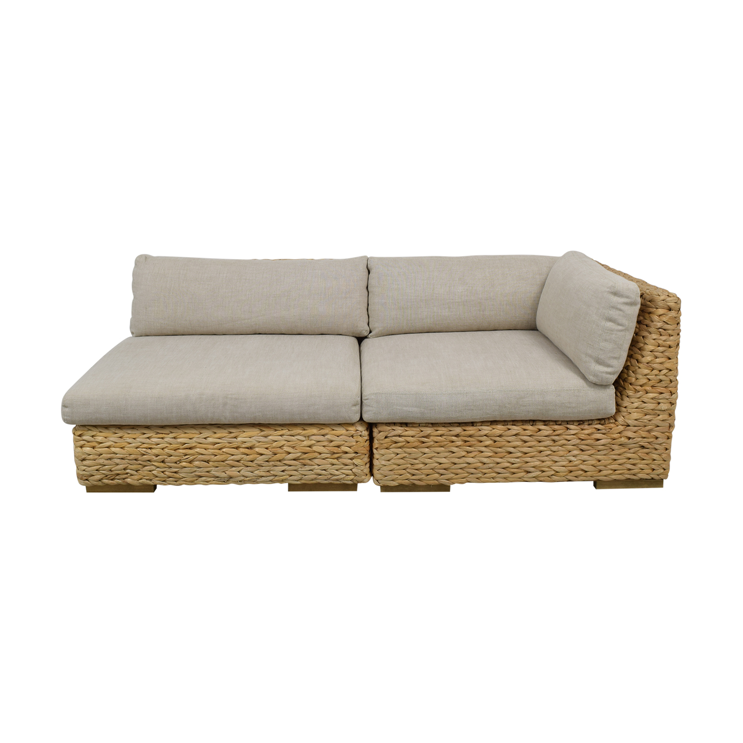Restoration Hardware Restoration Hardware Beige and Grey Wicker Two-Piece Sectional price