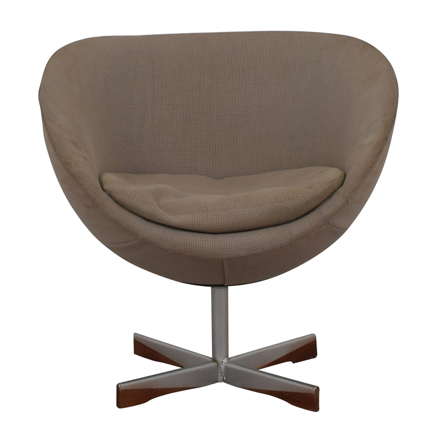 shop Mid-Century Beige Bowl Accent Chair  Chairs