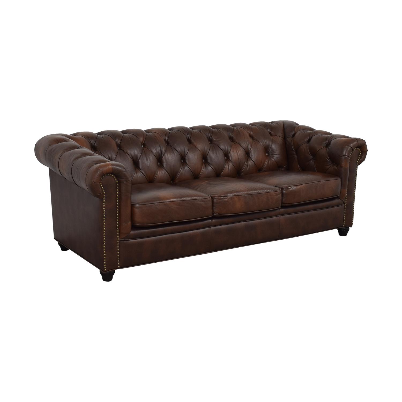 Superb 56 Off Abbyson Abbyson Living Brown Tufted Three Cushion Sofa Sofas Caraccident5 Cool Chair Designs And Ideas Caraccident5Info