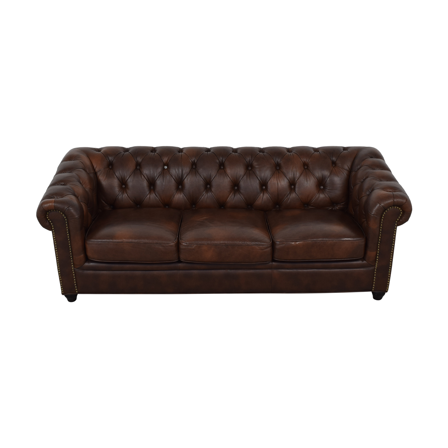 shop Abbyson Living Brown Tufted Three-Cushion Sofa Abbyson Living Sofas