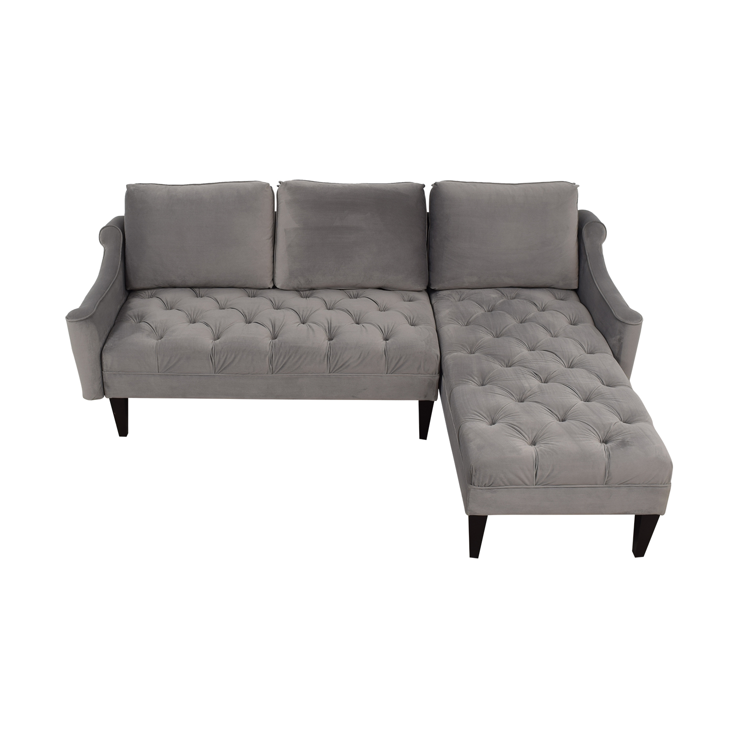 buy Wayfair Grey Tufted  Chaise Sectional Wayfair Sectionals