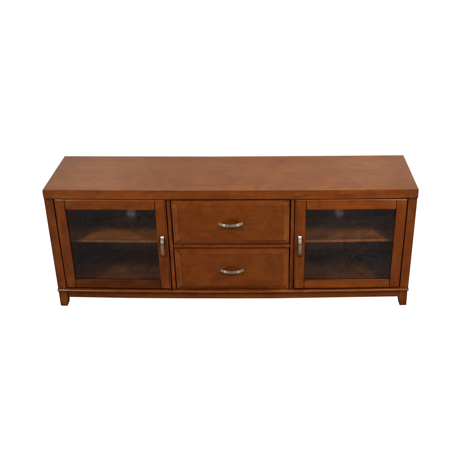 shop Raymour & Flanigan Wood and Glass Media Console Raymour & Flanigan