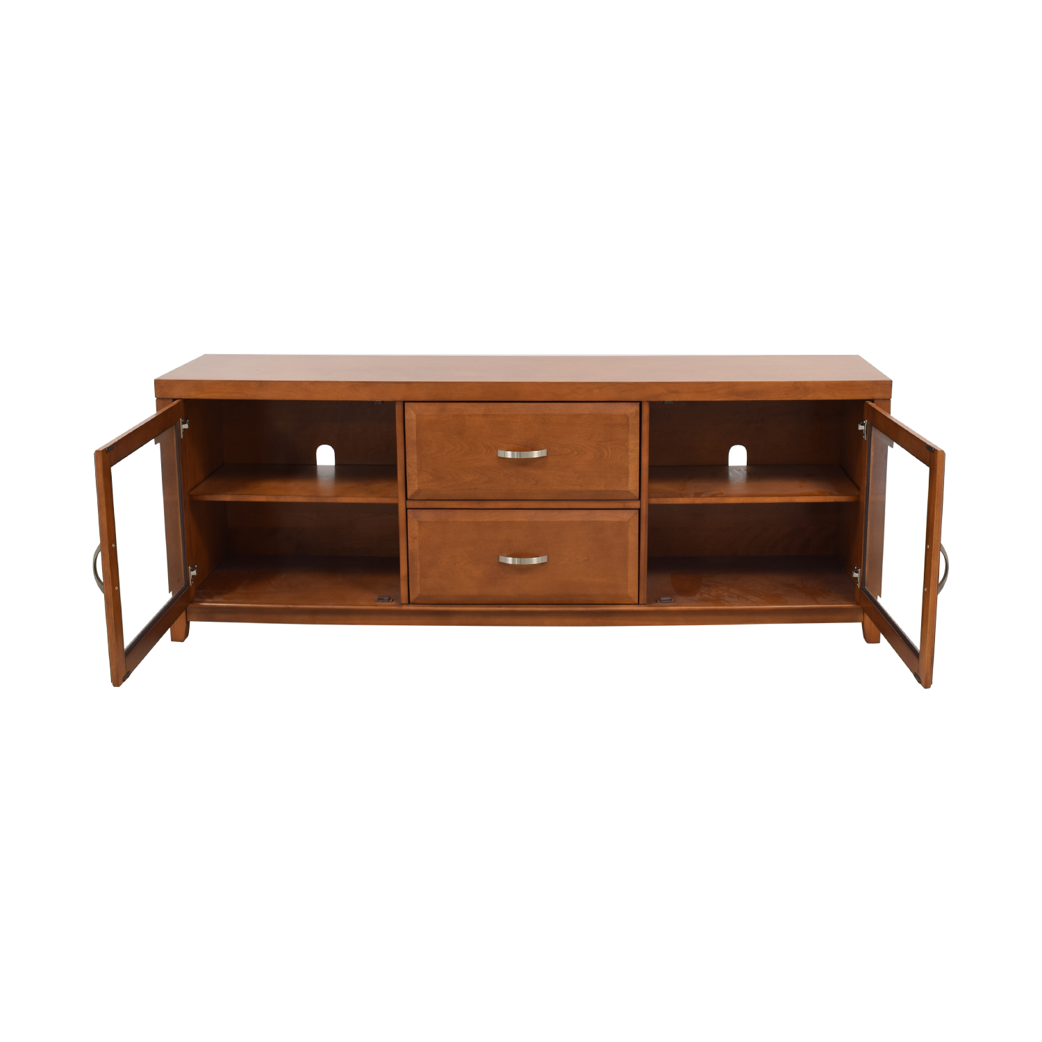 Raymour & Flanigan Raymour & Flanigan Wood and Glass Media Console second hand