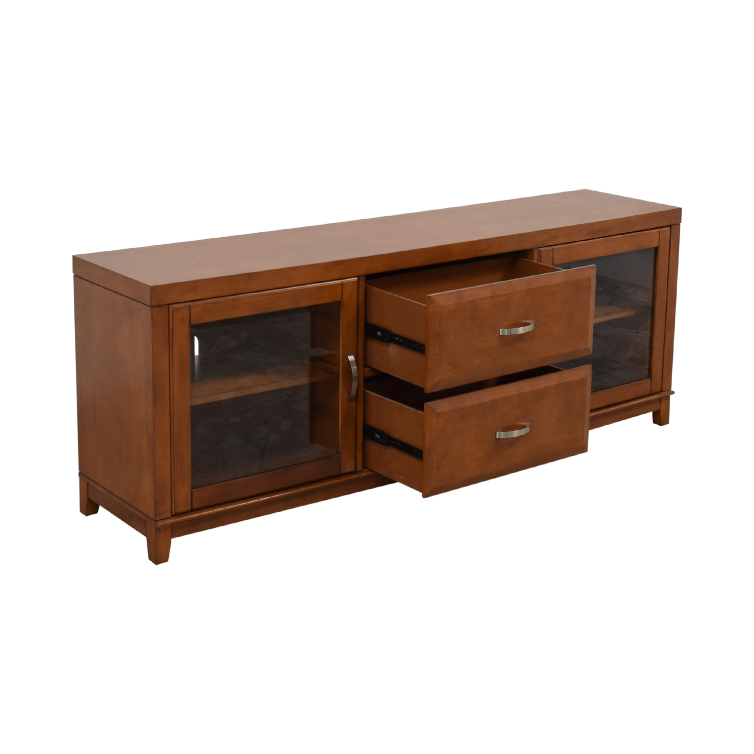 Raymour & Flanigan Wood and Glass Media Console / Media Units