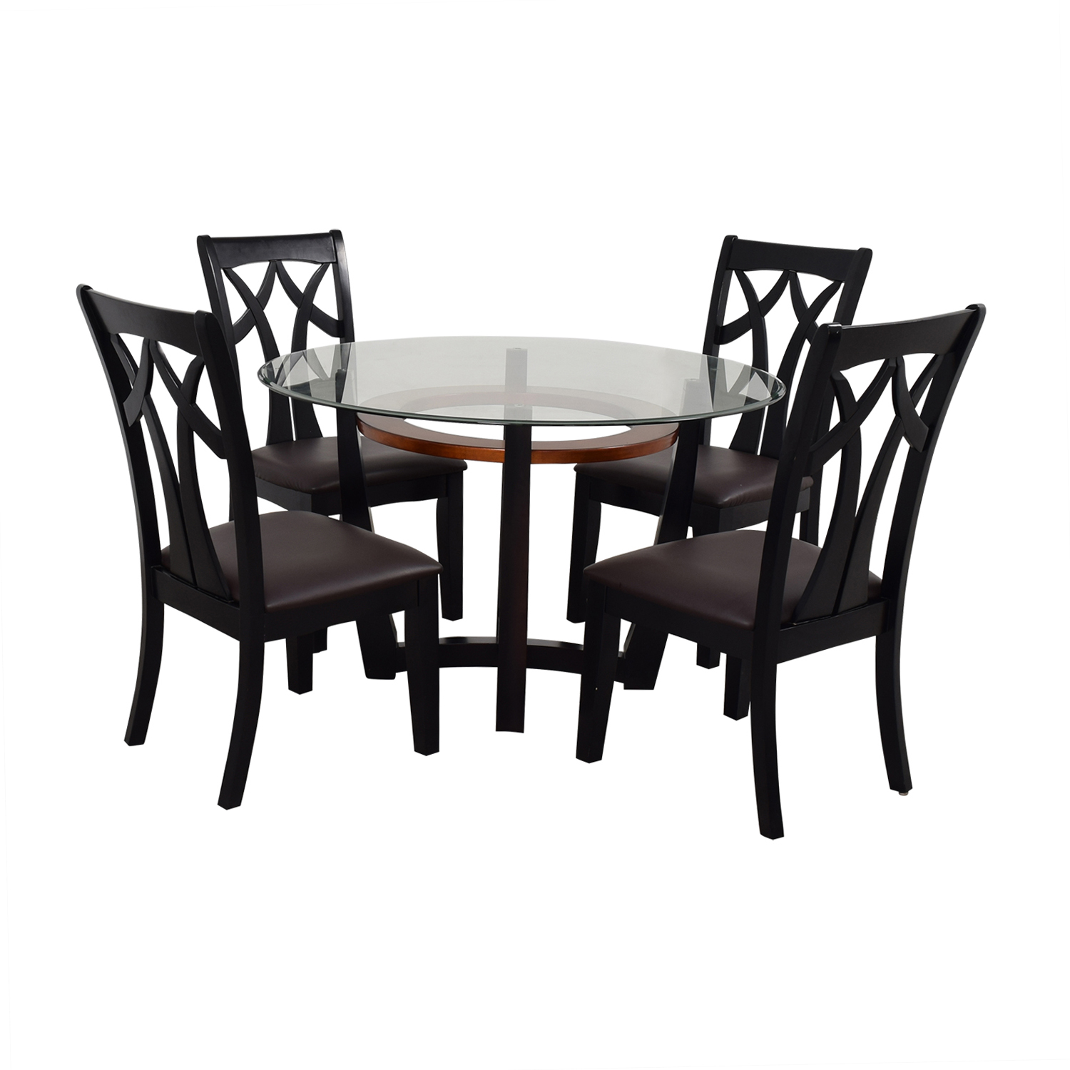 5% OFF - Raymour & Flanigan Raymour & Flanigan Wood and Glass Dining Set /  Tables