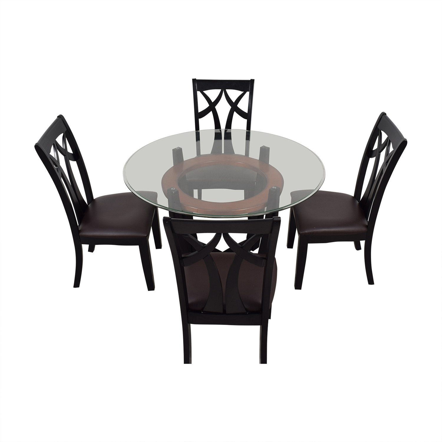 Raymour & Flanigan Raymour & Flanigan Wood and Glass Dining Set on sale