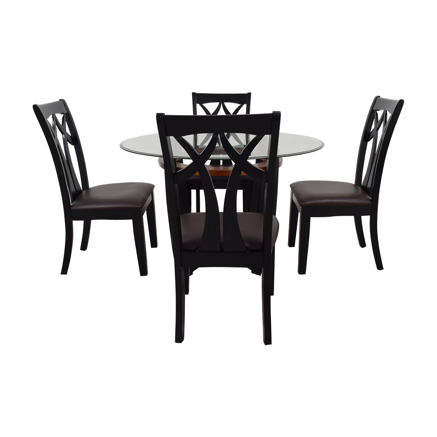 shop Raymour & Flanigan Wood and Glass Dining Set Raymour & Flanigan Dining Sets