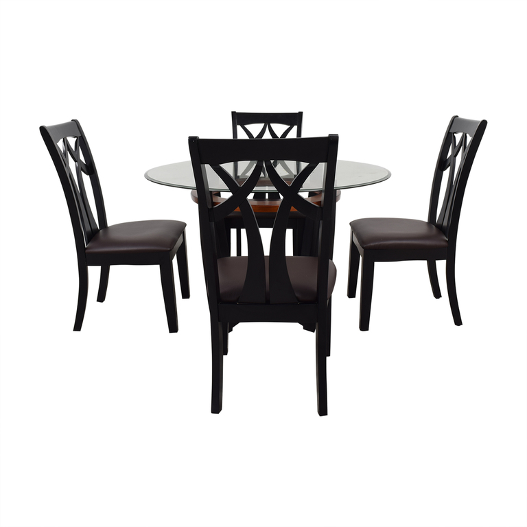 Raymour & Flanigan Raymour & Flanigan Wood and Glass Dining Set dimensions