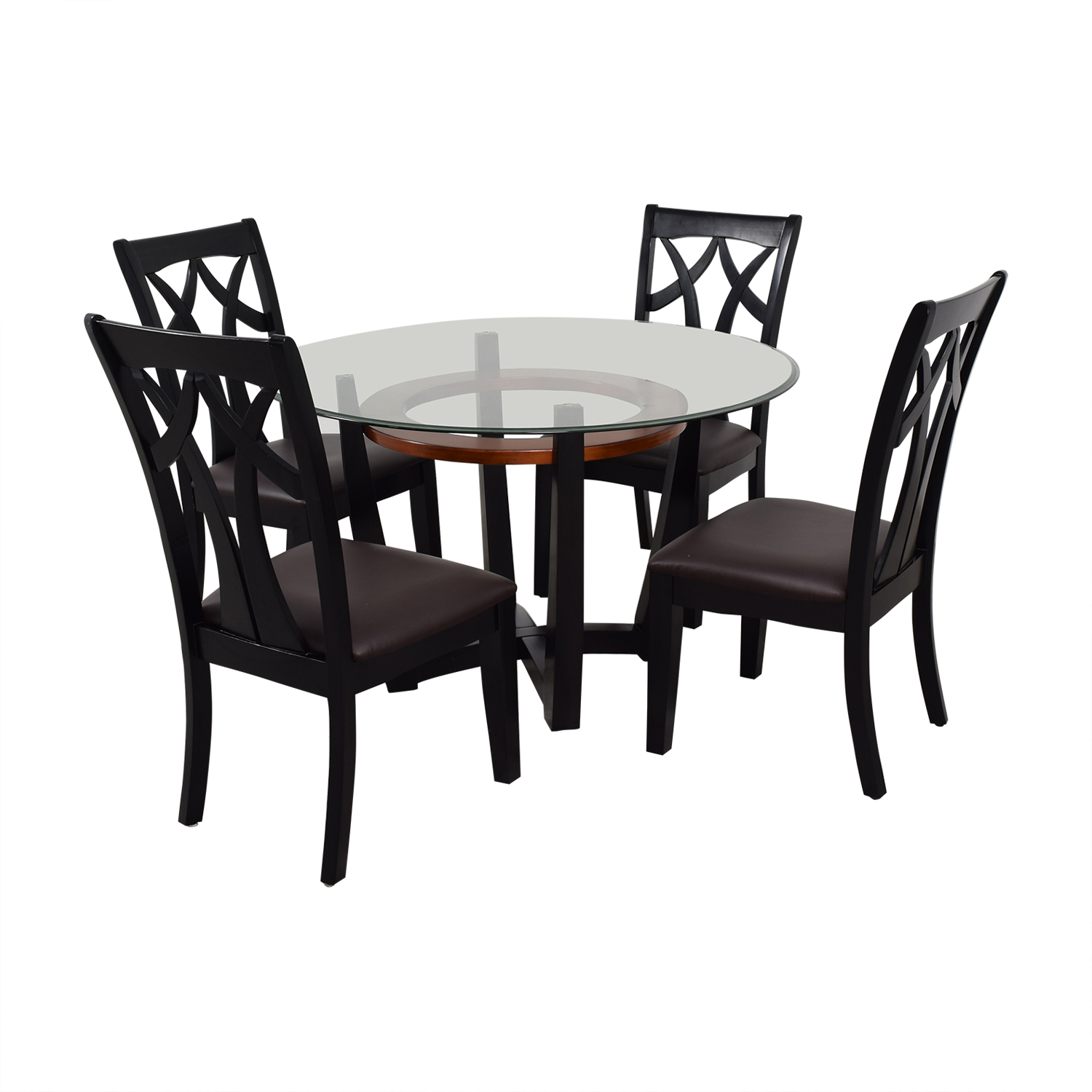 Raymour & Flanigan Wood and Glass Dining Set sale