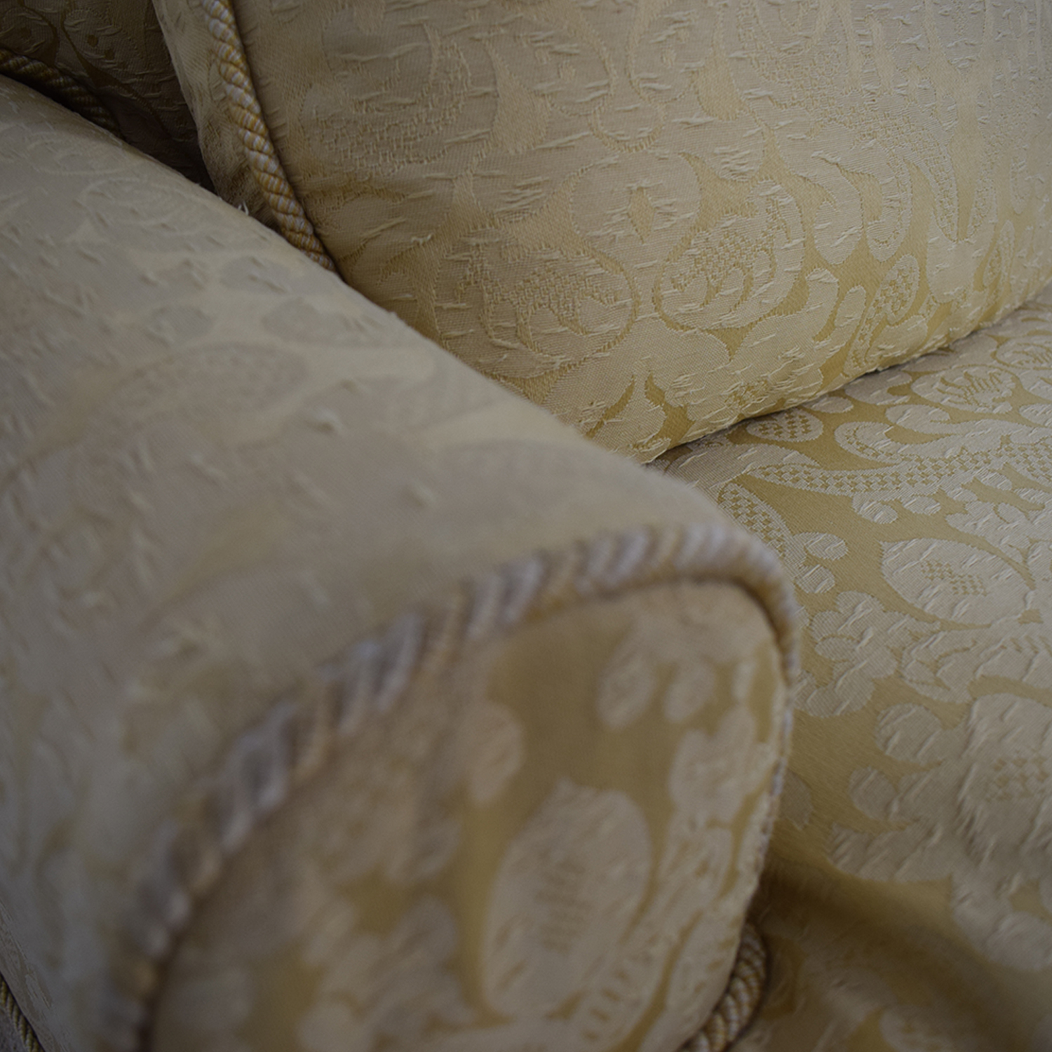 Gold and White Damask Three-Cushion Sofa second hand