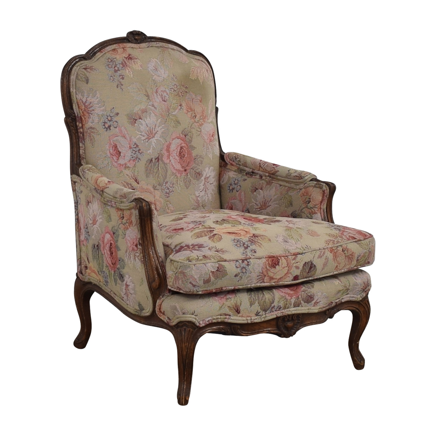 Floral Upholstered Arm Chair second hand