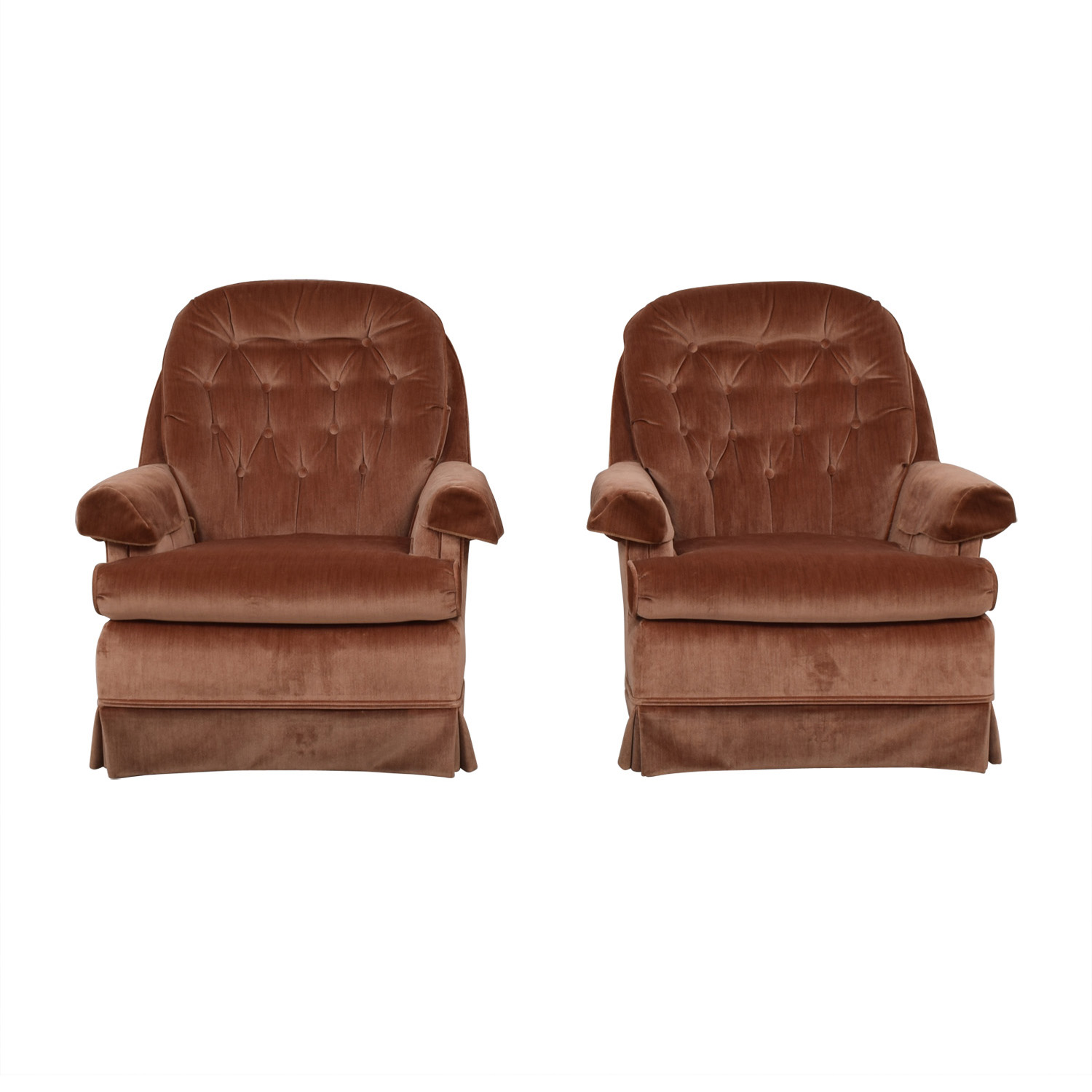 Broyhill Broyhill Tan Tufted Arm Accent Chairs tan